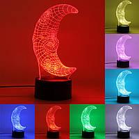 3D Улыбка Луны сенсорный переключатель Night Light 7 цветов Изменение светодиодные настольные лампы Подарки на день рождения