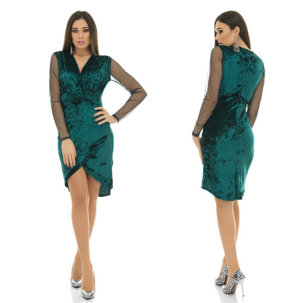Оригинальное вечернее бархатное платье с запахом и сетчастыми рукавами