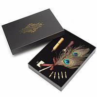 Античный павлинье перо гусиное перо с Dip 5 шт Pen советы и чернильница и Wax Seal Set
