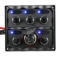 5 Gang LED тумблер панель прикуривателя Караван RV Лодка Marine