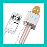 Беспроводной микрофон для караоке bluetooth Q7 MS (розовый, золото)!Купи сейчас