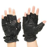 Половинная кожа Finger Перчатки Защитные мужские боксерские виды спорта мотоцикл Велоспорт Байкер черный