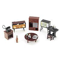 Миниатюрный Dollhouse Мебельный гарнитур Швейные машины Телефон для семей Ролевая игра Toy Kit