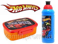 """Набор """"Hot Wheels"""". Ланч бокс (ланчбокс) с приборами + бутылка"""