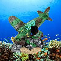 Аквариум Смола Самолет Обломки Fish Tank Украшение Рыба Креветки Украшение