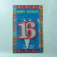 """Свеча в торт """"16"""" / Юбилей, жемчуг, два фитиля 9x5x1 см"""