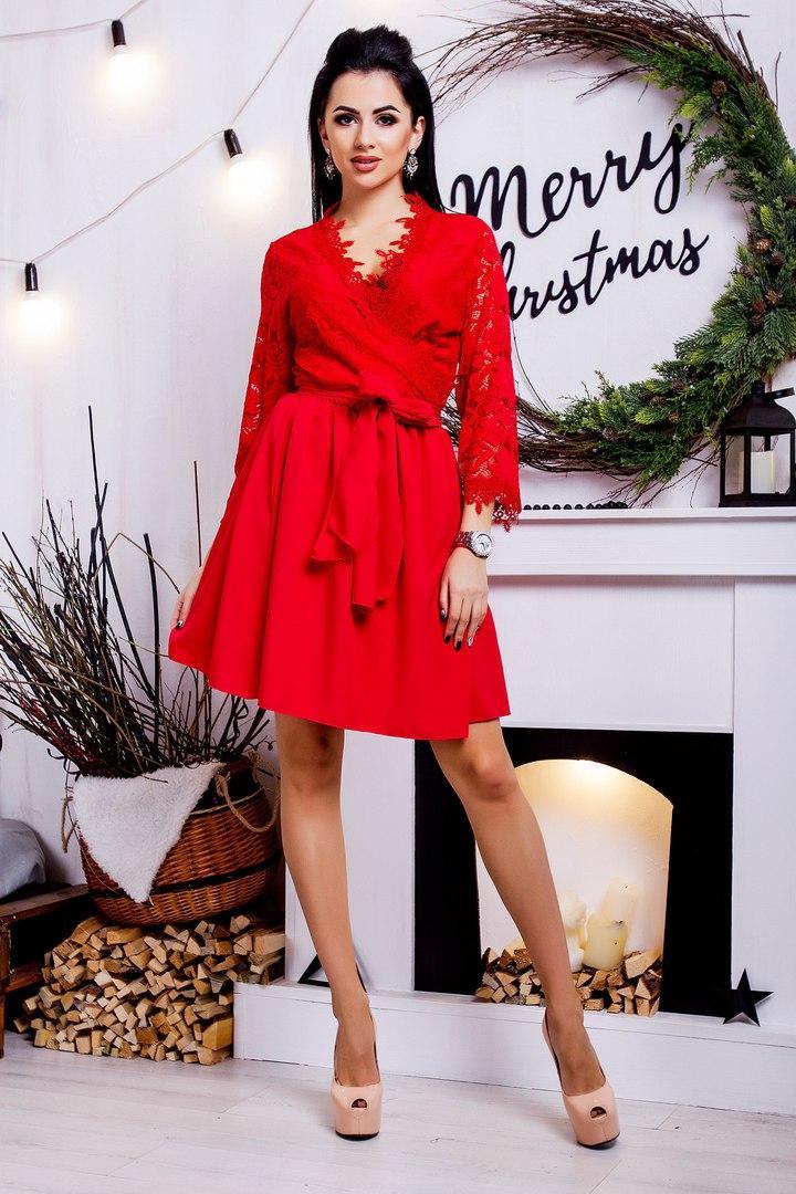912c9221814 Короткое платье на запах с кружевом и расклешенной юбкой   4 цвета арт  3236-8