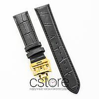 Кожаный ремешок с застежкой для часов Vacheron Constantin black lemon gold 21 мм на 18 мм (07474)