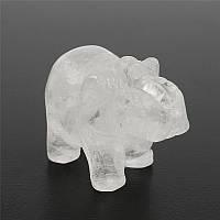 Естественный белый кристалл авантюрин камень Лаки слон феншуй Статуя