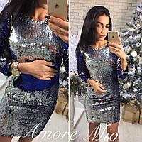 Женское платье из двухсторонней паетки сине-серебряного цвета
