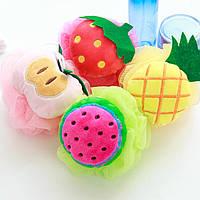 Цвета конфеты Фрукты Форма шарик для ванны Полотенца Душ для тела Губка нейлон