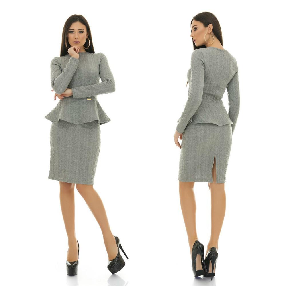 Элегантный теплый деловой костюм из юбки-футляр и кофты с баской
