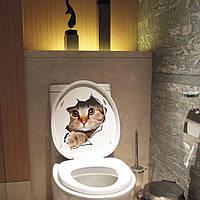 3D Сломанная стена Котенок Собачка стикер стены стикер Toliet ванной Украшение этикета