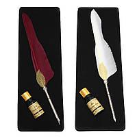 Античный Pure гусиное перо гусиное Dip Pen и набор чернил Канцелярские товары Подарочная коробка