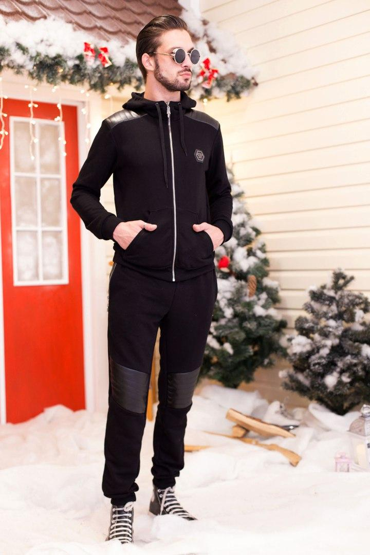 Мужской спортивный черный костюм кофта на молнии и штаны со вставками эко-кожы