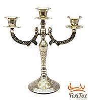 Подсвечник каминный бронзовый на 3 свечи 25 см