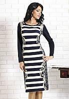 Женское трикотажное платье темно-синего цвета с длинным рукавом и принтом. Модель Florien Top-Bis.