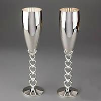 Свадебные бокалы серебренные сердечки
