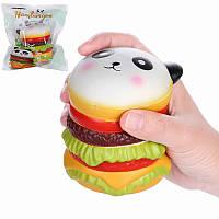 Vlampo Squishy Panda Гамбургер 10см Медленно растущая коллекция оригинальной упаковки Подарочная декоративная игрушка