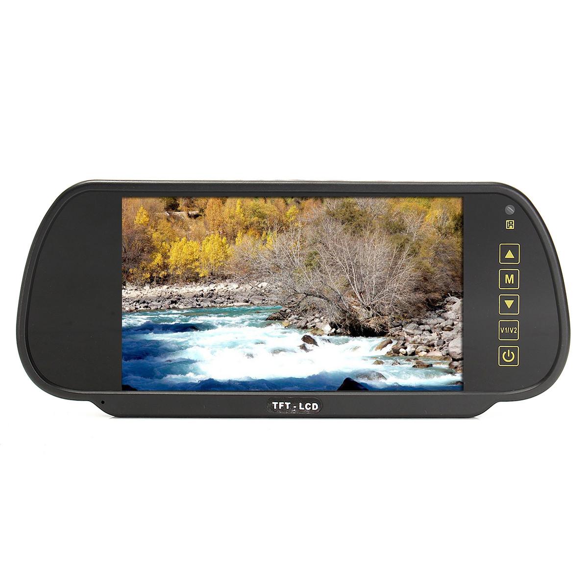 7 дюймов TFT LCD Авто Зеркало заднего вида Монитор для парковки заднего хода камера Комплект и видеомагнитофон DVD-1TopShop