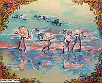 Фламинго. Картина батик \ шелк.