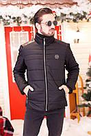 Теплая мужская зимняя куртка на молнии и с подкладкой из овчины