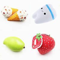 4PCS Squishy Jumbo Teeth Mango мороженое Клубника Медленный рост Оригинальная упаковка Коллекция подарков