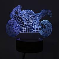 DC5V 0.5W 3d мотоцикл LED настольная лампа визуальный рабочий стол спальне ночные огни Питание от порта USB пульт дистанционного управления