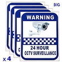 4xCCTV камеры предупреждения наклейки наблюдения виниловые наклейки видео безопасности знак новый