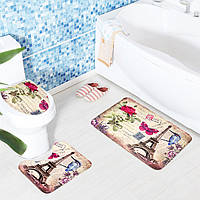 3 комплекта сиденье для унитаза Европейский стиль туалет ковер ткань постамент железная башня печати коврик для ванной