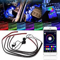 4шт приложение голосового управления беспроводной LED внутренняя отделка автомобиля неоновые полосы света