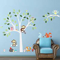 Питомник ребенка детская комната декор джунгли совы животных обезьяны дерево стены стикеры украшения