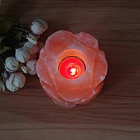 Цилиндрическая форма цветка гималайский натуральный кристалл Rock Соляная лампа держатель для свечи домашнего декора