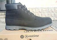 Ботинки на тонком меху из натурального нубука, черные. Размеры 42, 43, 44, 45. Restime KMZ17061.