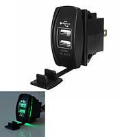 12v ~ 24v зеленый LED с подсветкой автомобиля лодка двойной USB переключатель выход зарядное устройство 5v 3.1a коромысла