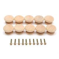 10pcs деревянная тянуть форма ручки гриба для выдвижной ящик шкафа с помощью винтов