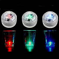 Водонепроницаемы Мини LED Красочные круглые свечи под водой свет Лампа