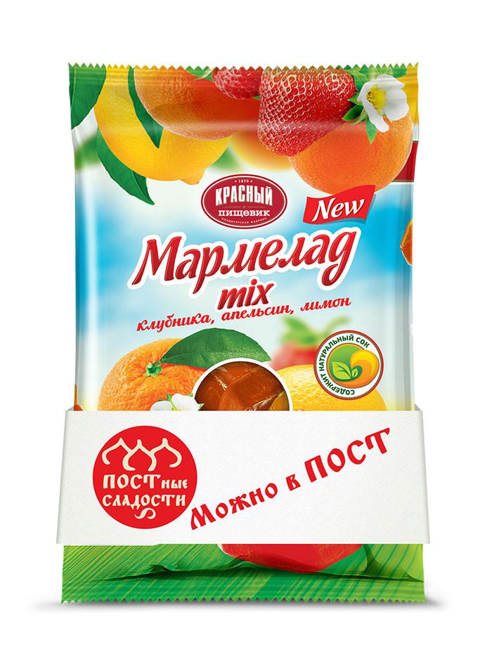 Мармелад на основе натурального сока (ТМ Красный пищевик) 300гр  «Mix» апельсин, клубника, лимон
