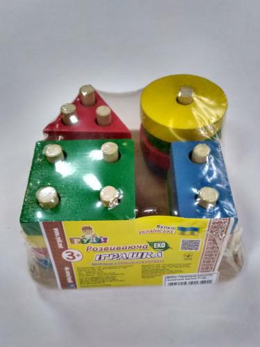 Деревянная игра для малышей пирамидка, Д020у