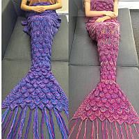 85x 190см хвост русалки диван одеяло мягкая теплая рука вязаные шерсть для взрослых