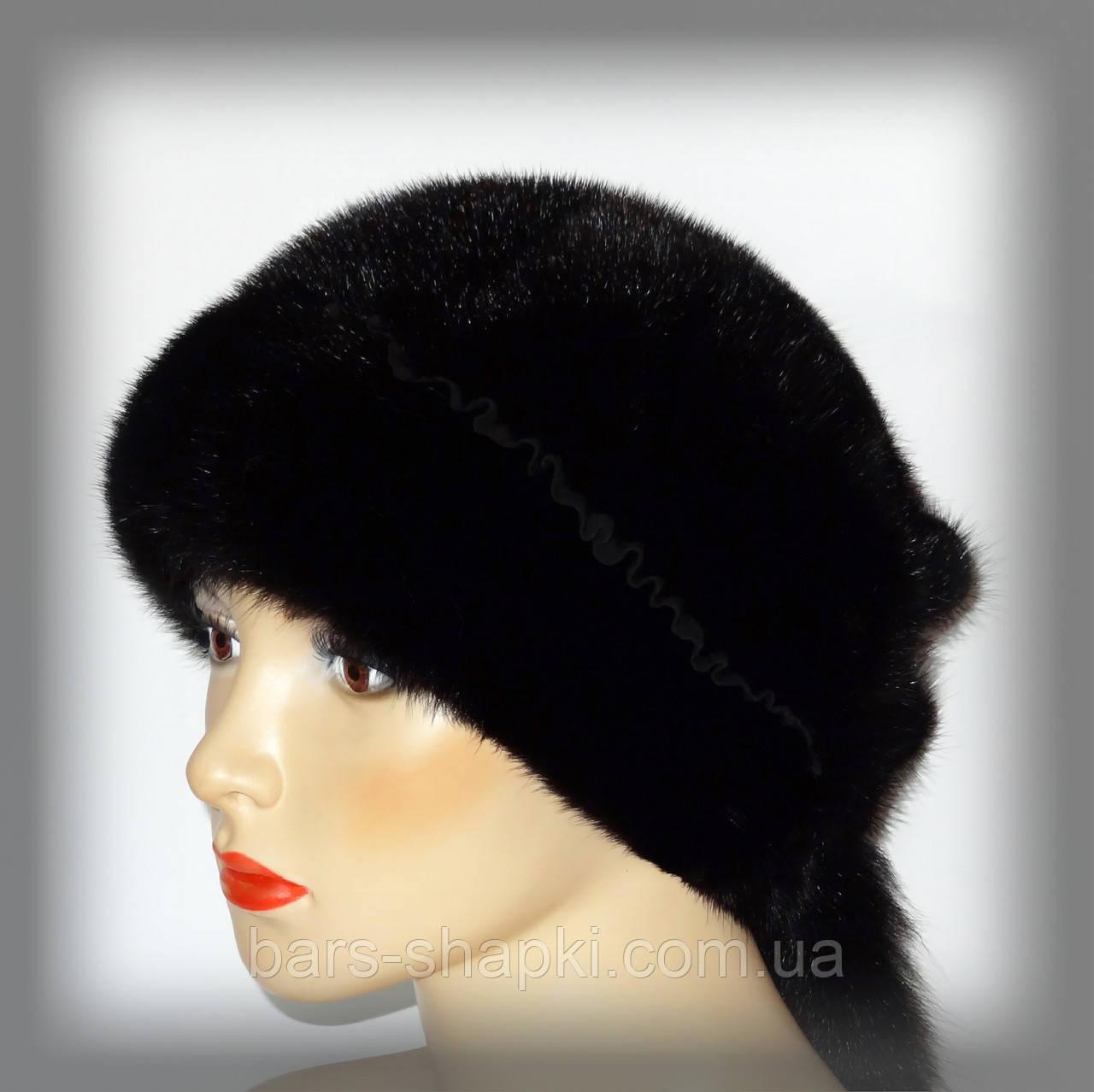 Хутряна норкова шапка з хвостиками (коричнева)