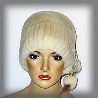 Женская меховая шапка кубанка из кролика Rex Rabbit (молочная)