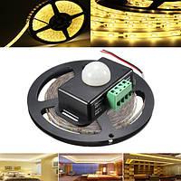 5M smd2835 300 LED водонепроницаемый теплый белый лента свет прокладки + PIR датчик движения детектор переключатель DC12V