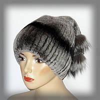 Меховая женская шапка из кролика-шиншилы(серая)