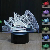 Сиднейский оперный театр 3d ночь свет 7 цвет LED сенсорный выключатель настольные лампы подарка Xmas декор