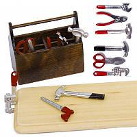 1/12 кукольный миниатюрный деревянный ящик с металлической поделок Набор инструментов комплект игрушки