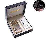 Зажигалка электроимпульсная USB двойная молния в кожаной коробке 4842