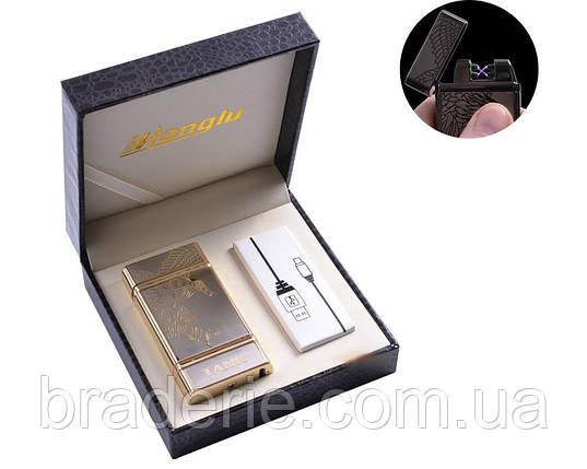 Зажигалка электроимпульсная USB двойная молния в кожаной коробке 4842, фото 2