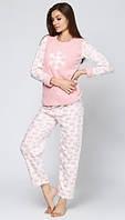 Тёплая женская пижама с брюками