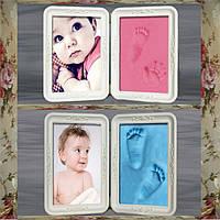 Новорожденный рука ноги печатает фоторамки с сенсорным глина комплект репродукций слащавый подарок